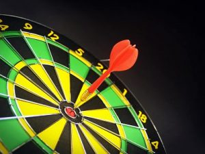 Dart hitting the bullseye