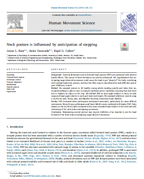 Research paper movement anticipation affects posture