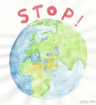 The Earth with the word Stop above it