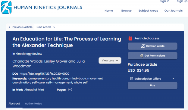Webpage of Kinesiology Review Journal