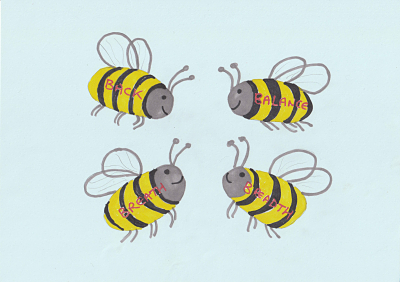 Cartoon of four bees called back balance breath and breadth